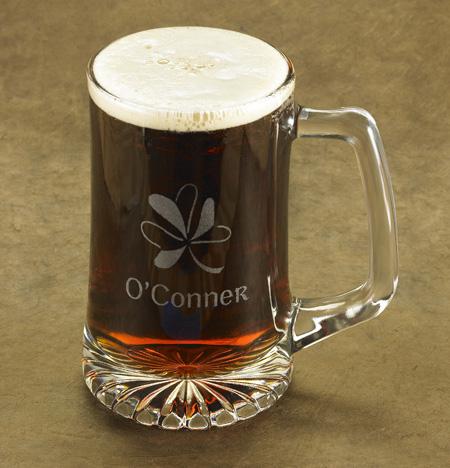Engraved Lucky Shamrock 25oz Beer Mugs