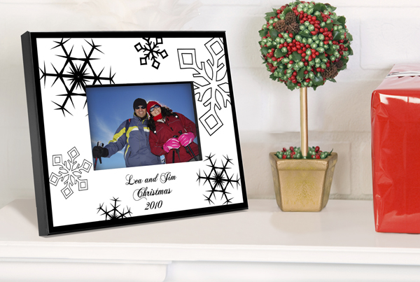 Personalized Black and White Snowflake Picture Frame