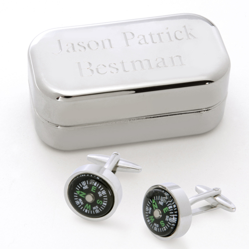 Dashing Cufflinks With Engraved Silver Case GC658