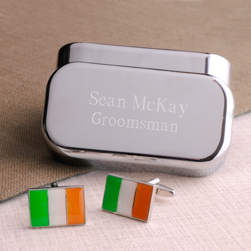 Irish Pride Cufflinks With Engraved Keepsake Box