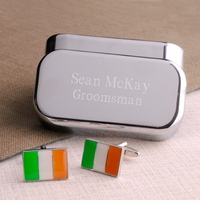 Irish Pride Style Cufflinks With Cusom Engraved Keepsake Box GC658irish
