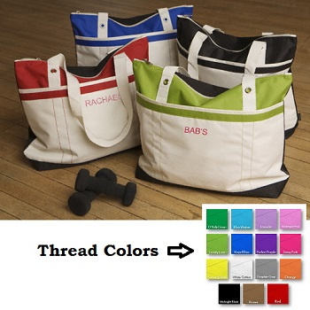 Personalized Sporty Girl Fitness Embroidered Tote Bag GC670