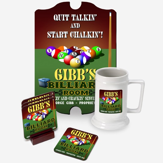 The Ultimate Custom Pub Set With Sign Stein and Coasters GC697