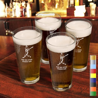 Sports Icon 16oz Engraved Pint Glasses Set Of 4 GC705