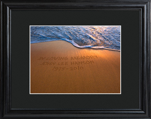 Personalized Shimmering Sand Memorial Wall Print With Wood Frame