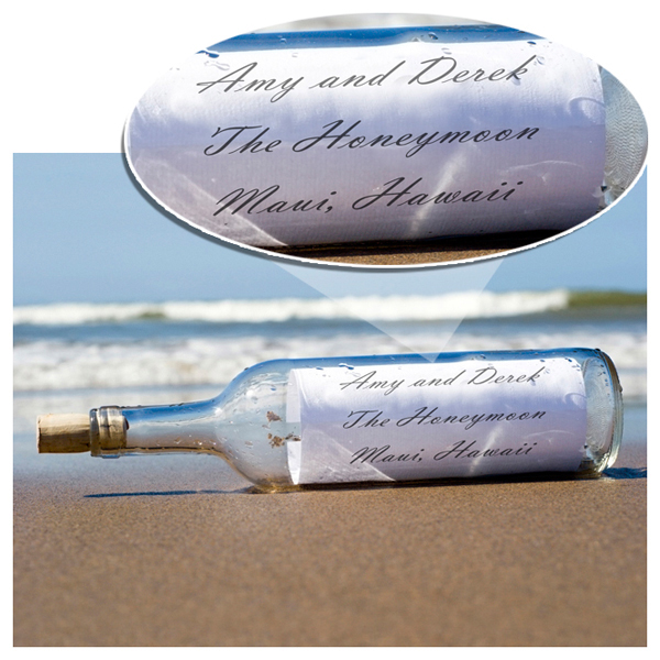 Personalized Message In A Bottle Wall Print With Wood Frame GC716