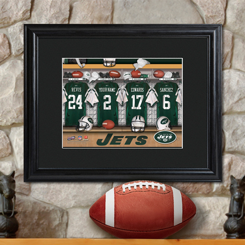 Personalized NFL Locker Room Black Framed Print GC726