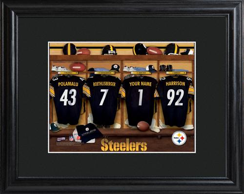 Personalized NFL Locker Room Black Framed Print