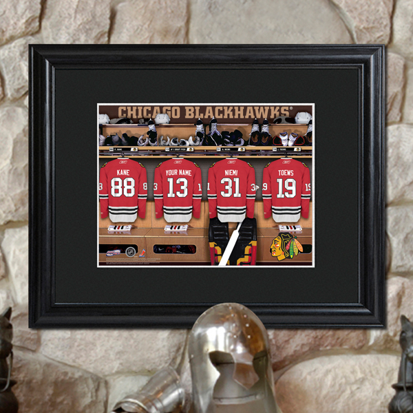 Custom NHL Wood Framed Locker Room Wall Print GC728