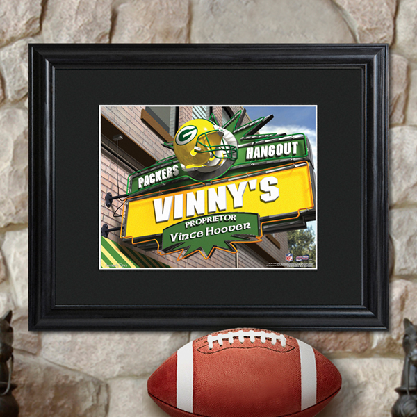 Personalized NFL Bar Black Wood Framed Print GC729