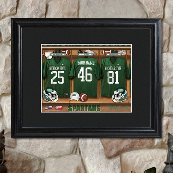 NCAA College Football Locker Room Print With Black Wood Frame