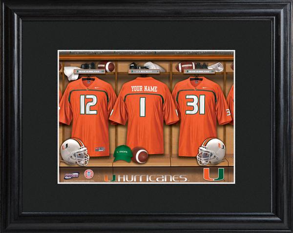 3a47679cc18 Custom NCAA Football Locker Room Black Framed Print - Personalize at ...