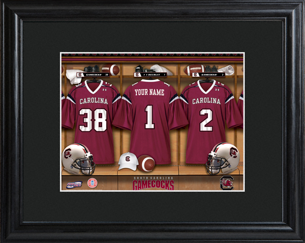 cddab95bd8c ... NorthCarolinaState Custom NCAA Football Locker Room Black Framed Print  SouthCarolina ...
