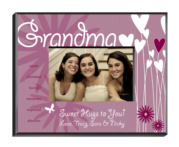 Personalized Hearts and Flowers Frame For Grandma