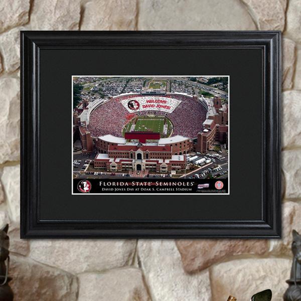 Custom College Football Stadium Black Wood Framed Print