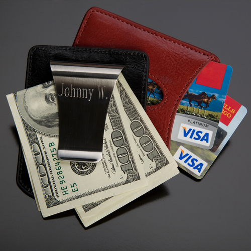 Engraved Storus Stainless Steel Money Clip and Leather Card Holder