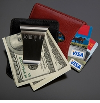 Engraved Storus Stainless Steel Money Clip and Leather Card Holder GC760