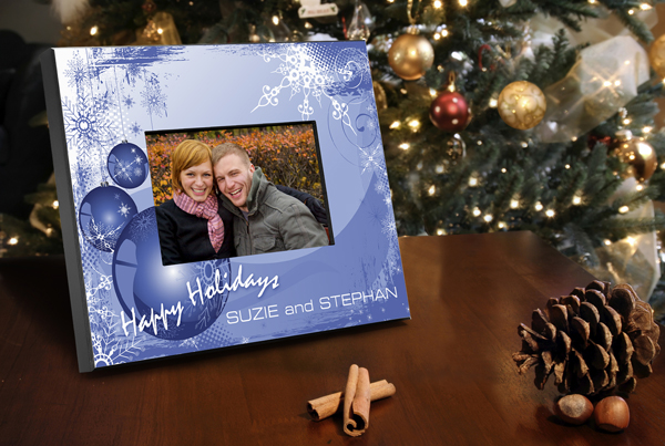 Blue Christmas Personalized Picture Frame
