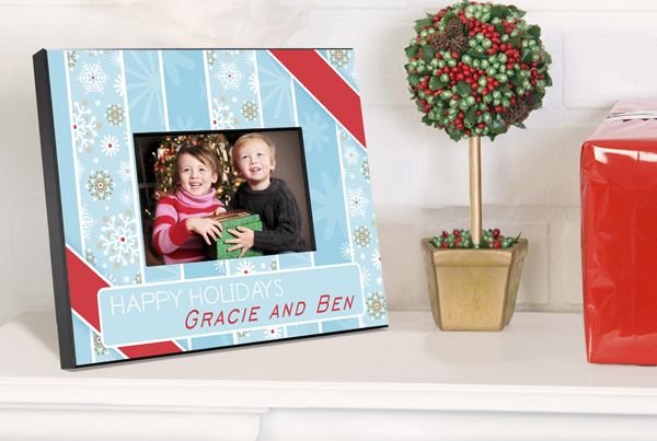 Personalized Snowflakes and Stripes Picture Frame GC763snowflakesstripes