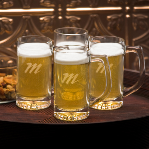 Engraved Traditional Tavern 13oz Mug 4 Glass Set GC768