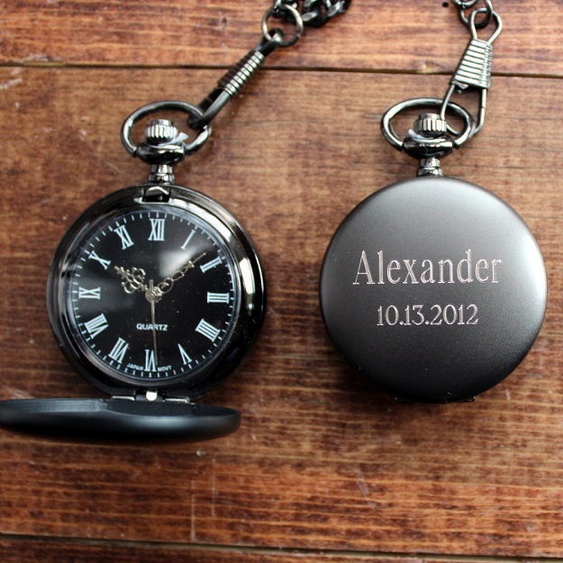 Engraved Gunmetal Pocket Watch With Black Face Roman Numerals GC775