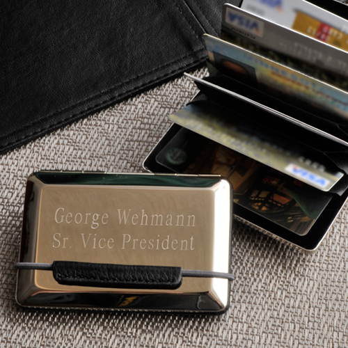 Engraved Silver Expandable Executive Card Case GC778