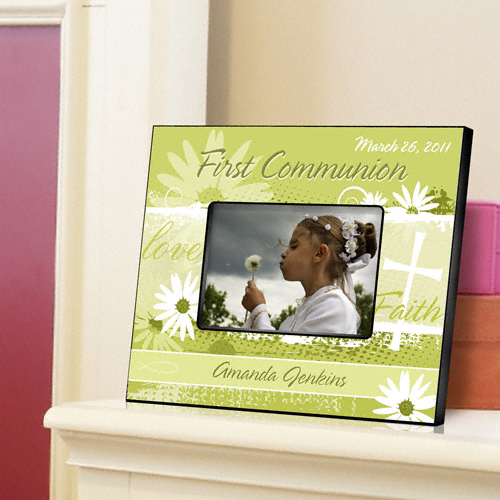 First Communion Delicate Daisy Custom Picture Frame