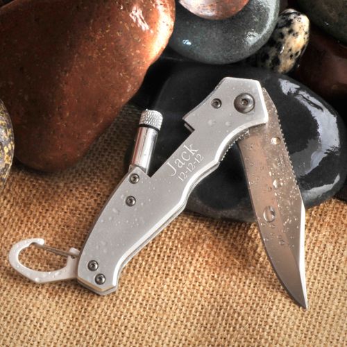 Engraved Brushed Lockback Pocket Knife and Flashlight GC788