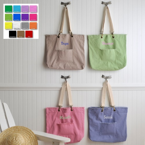 Custom Embroidered Perky Pastels Canvas Tote Bag - Personalize at ...