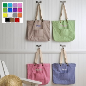 Custom Embroidered Perky Pastels Canvas Tote Bag GC793