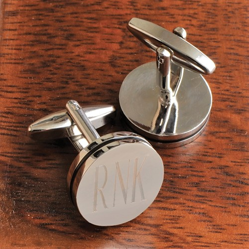 Engraved Silver Pin Stripe Cufflinks GC797