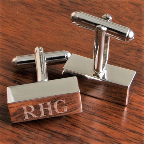 Solid Silver Bar Engraved Monogram Cufflinks GC798