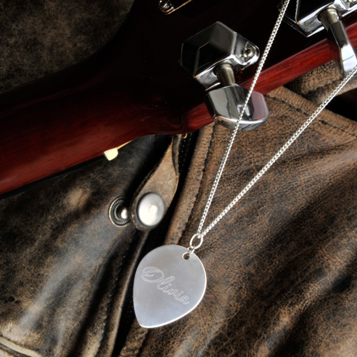 Engraved Sterling Silver Guitar Pick Necklace