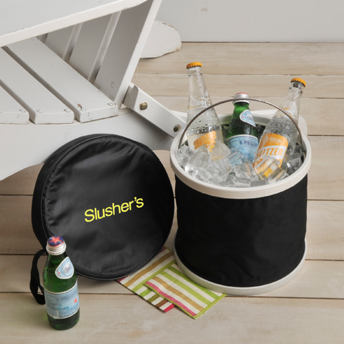 Embroidered Tote Cooler Bucket With Sturdy Metal Handle