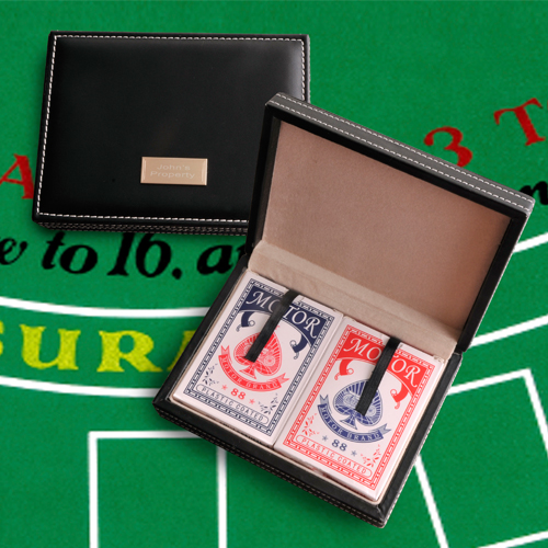 Engraved Leather Card Case With Two Decks