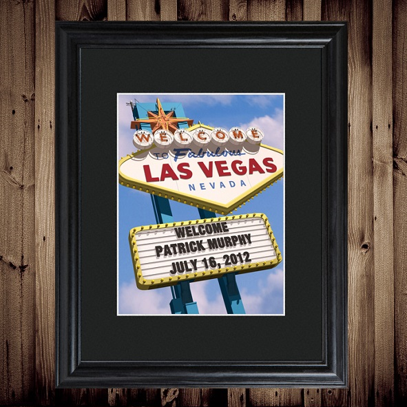 Personalized Las Vegas Matted Frame Wall Art
