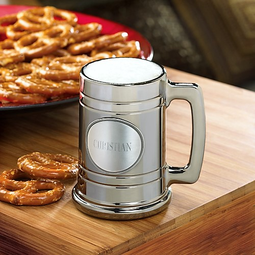 Engraved Medallion Gunmetal Coated Glass Beer Mug GC821