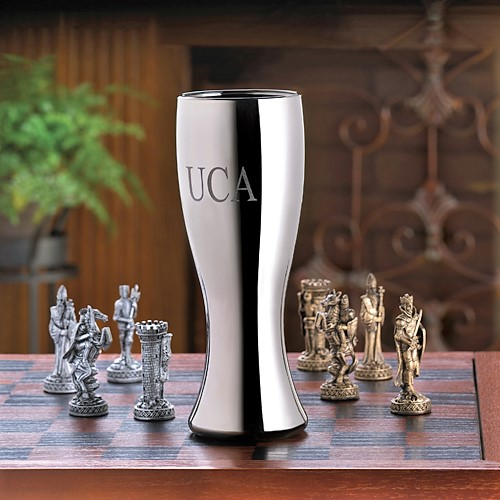 Engraved Gunmetal Coated 20oz Pilsner Glass GC826