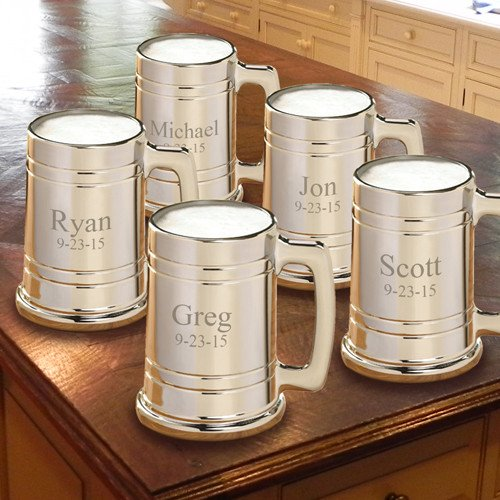 Engraved Gunmetal Coated 16oz Glass 5 Mug Set GC827