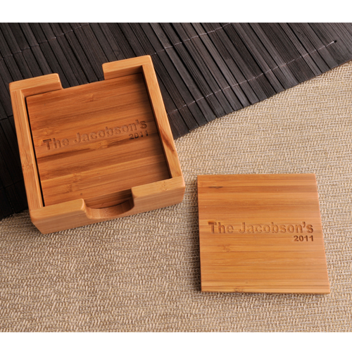Engraved Square Bamboo Coaster Set