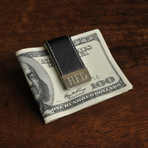 Engraved Silver Gentry Style Leather Money Clip GC832