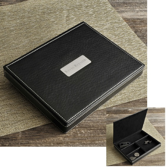 Stitched Black Leather Valet With Engraved Brushed Silver Plate