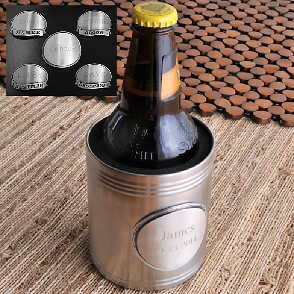Chrome Plated Can Cooler With Custom Engraved Medallion GC834