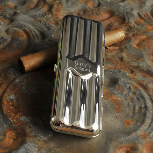 Engraved Travel Sized Polished Silver Cigar Holder GC846