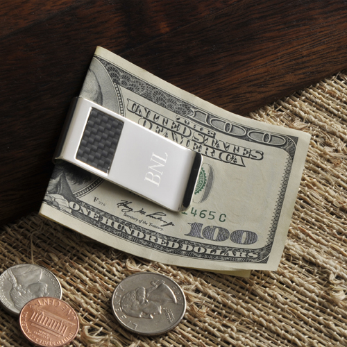 Carbon Fiber Engraved Silver Money Clip GC851