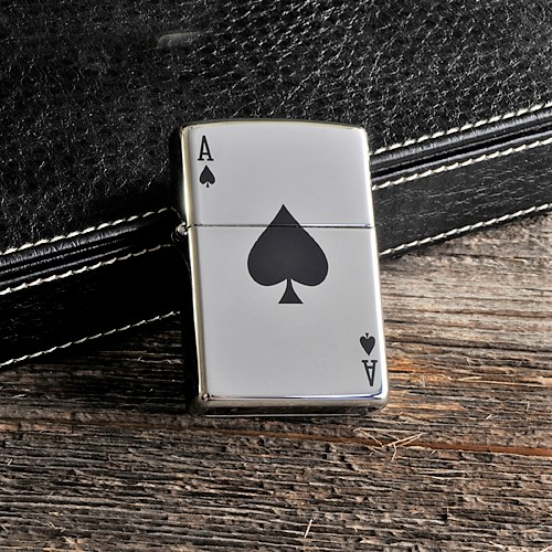 Engraved Black Ace Zippo Lighter GC868