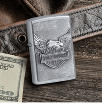 Street Chrome Zippo Lighter With Harley Davidson Iron Eagle GC886