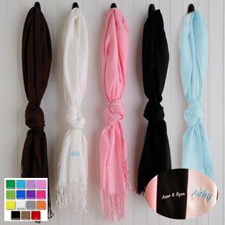 Personalized Plush Silk Pashmina Blend Scarf GC896