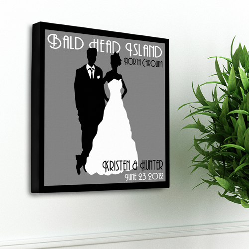 Personalized Wedding Day Couples Studio Canvas Print