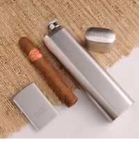 Engraved Cigar Case With Built-in Flask and Zippo Lighter Set GC900
